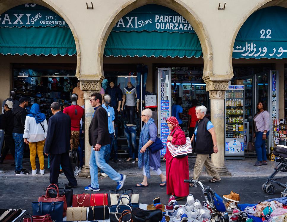 CASABLANCA, MOROCCO - CIRCA APRIL 2017: People walking in Avenue Des Far, a major artery around the Medina in Casablanca