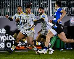 Paolo Odogwu of Wasps carries with Marcus Watson and Lima Sopoaga of Wasps in support - Mandatory by-line: Andy Watts/JMP - 08/01/2021 - RUGBY - Recreation Ground - Bath, England - Bath Rugby v Wasps - Gallagher Premiership Rugby