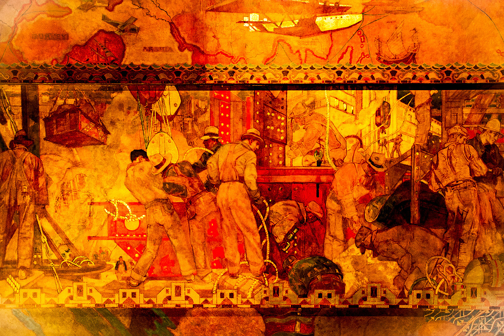 """This section of the huge """"Transport and Human Endeavor"""" mural on the ceiling of the Chrylser Building's main lobby depicts scenes of heroic industrialism and early 20th Century transportation including aircraft of the period.<br /> <br /> Some of the construction scenes are said to depict the construction of the Chrysler building itself.<br /> <br /> The canvas mural was painted by Edward Trumbull in 1929, but was given a polyurethane coating in 1970 that darkened it and made it hard to see until a costly restoration in 1999."""
