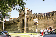 fortified walls of the Old town of Avignon, France