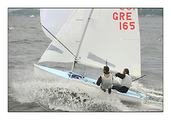 470 Class European Championships Largs - Day 3.Brighter conditions with more wind...GRE165, Panagiotis KAMPOURIDIS, Efstathios PAPADOPOULOS, Yaucht Club Of Greece