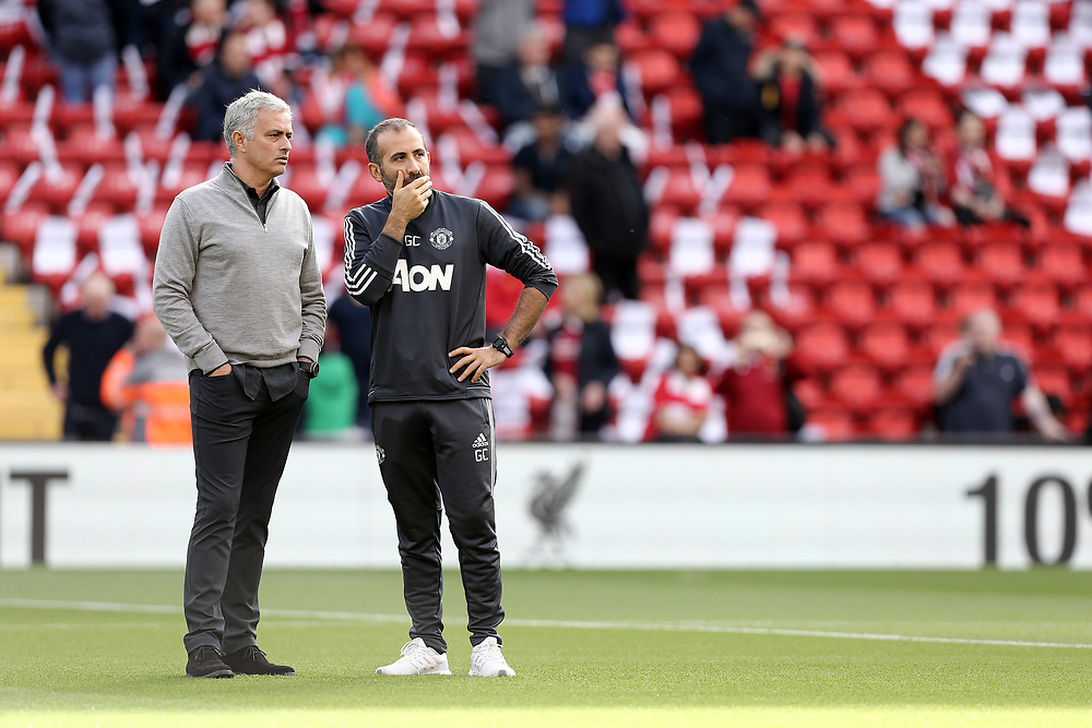 Manchester United manager Jose Mourinho watches the Liverpool players during the pre-match warm-up <br /> <br /> Photographer Rich Linley/CameraSport<br /> <br /> The Premier League - Liverpool v Manchester United - Saturday 14th October 2017 - Anfield - Liverpool<br /> <br /> World Copyright © 2017 CameraSport. All rights reserved. 43 Linden Ave. Countesthorpe. Leicester. England. LE8 5PG - Tel: +44 (0) 116 277 4147 - admin@camerasport.com - www.camerasport.com