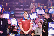 Chuck Puleo about to do his first ever walk-on during the Darts World Championship 2018 at Alexandra Palace, London, United Kingdom on 18 December 2018.