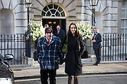 DAVID BAILEY; CATHERINE BAILEY, guests leaving the wedding receptions for Jerry Hall to Rupert Murdoch, Spencer House, London. 5 March 2016