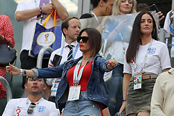 Rebekah Vardy (left), wife of England's Jamie Vardy and Fern Hawkins, girlfriend of England's Harry Maguire in the stands before the FIFA World Cup third place play-off match at Saint Petersburg Stadium.