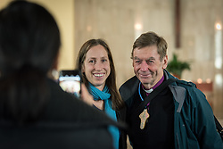1 December 2019, Madrid, Spain: Bishop Philip Huggins from the Anglican Church of Australia and the National Council of Churches Australia (right) joins a participant for a photo, as representatives of various faiths gather in the Iglesia de Jesús (Church of Christ) of the Iglesia Evangélica Española (Evangelical Church of Spain) for an interfaith dialogue and prayer service on the eve of the United Nations climate conference (COP25) in Madrid, Spain.