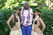 KO OLINA - FEBRUARY 11:  NFC Arizona Cardinals 2005 NFL Pro Bowl All-Stars Bertrand Berry #92 poses with Hawaiian Hula girls for his 2005 NFL Pro Bowl team photo on February 11, 2005 in Ko Olina, Hawaii. ©Paul Anthony Spinelli