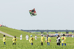 May 5, 2019 - Saitama, Japan - A big kite soars during the Giant Kite Festival in Kasukabe. Participants flew giant kites (weighs 800 kilograms, 11 meters wide and 15 meters high) to pray for a bumper harvest of silkworm raising. The annual festival has been held from 1841 and this year is held on May 3 and 5. Kasukabe city also has a kite museum housing 450 various Japanese and foreign kites. (Credit Image: © Rodrigo Reyes Marin/ZUMA Wire)