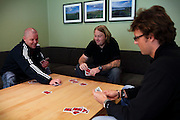 Inmates are playing cards in one of the common kitchen and living room areas established to be a meeting point between inmates and guards and to facilitate rehabilitation inside the luxurious Halden Fengsel, (prison) near Oslo, Norway.