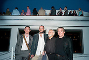 RICHARD HANCELL; ROSS WAITON; ALVIN EPSTEIN; MICHAEL THOMAS, The opening night party for the second year of The Bridge Project,   Silverfleet on the River Thames. Savoy Pier. London. 23 June 2010. -DO NOT ARCHIVE-© Copyright Photograph by Dafydd Jones. 248 Clapham Rd. London SW9 0PZ. Tel 0207 820 0771. www.dafjones.com.