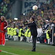 Fenerbahce's coach Aykut Kocaman (C) during their UEFA Europa League Semi Final first match Fenerbahce between Benfica at Sukru Saracaoglu stadium in Istanbul Turkey on Thursday 25 April 2013. Photo by Aykut AKICI/TURKPIX