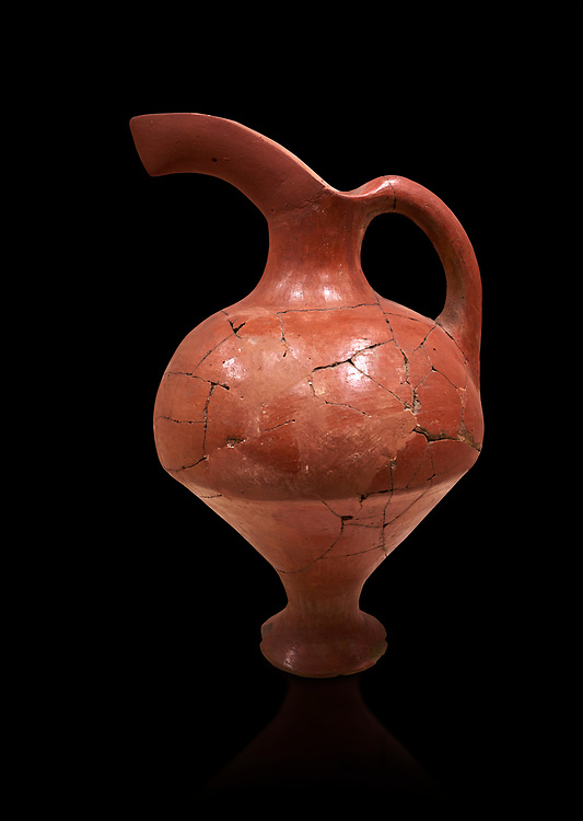 Hittite terra cotta red glazed beak spout pitcher . Hittite Period, 1600 - 1200 BC.  Hattusa Boğazkale. Çorum Archaeological Museum, Corum, Turkey. Against a black bacground. .<br />  <br /> If you prefer to buy from our ALAMY STOCK LIBRARY page at https://www.alamy.com/portfolio/paul-williams-funkystock/hittite-art-antiquities.html  - Type Hattusa into the LOWER SEARCH WITHIN GALLERY box. Refine search by adding background colour, place,etc<br /> <br /> Visit our HITTITE PHOTO COLLECTIONS for more photos to download or buy as wall art prints https://funkystock.photoshelter.com/gallery-collection/The-Hittites-Art-Artefacts-Antiquities-Historic-Sites-Pictures-Images-of/C0000NUBSMhSc3Oo
