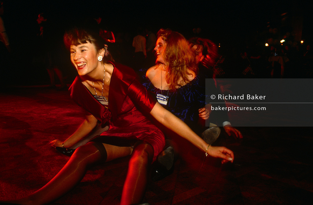 Young Tories dance and party during late-night revelry at the 1991 Conservative party conference.