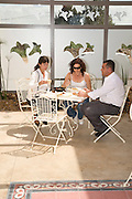 Israel, Herzliya, people at an outdoor cafe