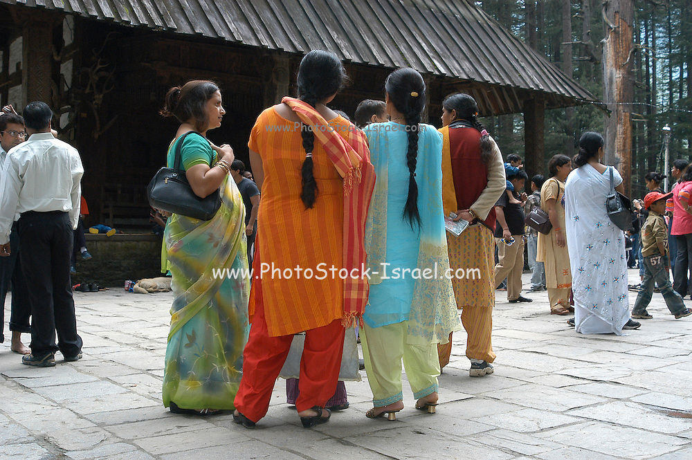 India, Vashisht near Manali, Kullu District, Himachal Pradesh, Northern India, sage Vashisht temple, also famous, for its hot sulfur springs, local people in traditional dress waiting to enter the shrine