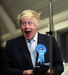© Licensed to London News Pictures. 08/05/2015. London, UK Boris Johnson wins at Uxbridge and South Ruislip election count. Photo credit : S. Peters/LNP