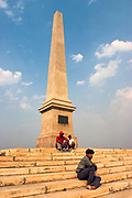 The obelisk that marks the site of the coronation on King George V of Great Britain where he proclaimed himself Emporer of India. Statues of King George V and other Imperial notables have been left at the site near Delhi, India. The statues were removed from New Delhi in the 1960's where the statue of George V originally stood under the Canopy of India. Today, the statues lie forgotten in a park on the outskirts of the city.