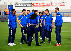 Bristol Rovers players have a look at the pitch - Photo mandatory by-line: Neil Brookman/JMP - Mobile: 07966 386802 - 01/11/2014 - SPORT - Football - Telford - New Bucks Head Stadium - AFC Telford v Bristol Rovers - Vanarama Football Conference