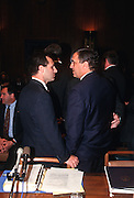 CIA Director George Tenet with FBI Director Louis Freeh in Congress in Washington, DC.