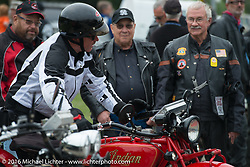 Jim Petty after riding his 1927 Indian Chief through the finish during Stage 7 of the Motorcycle Cannonball Cross-Country Endurance Run, which on this day ran from Sedalia, MO to Junction City, KS., USA. Thursday, September 11, 2014.  Photography ©2014 Michael Lichter.