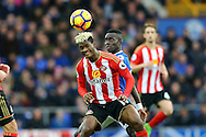 Didier Ndong of Sunderland gets his head to the ball. Premier league match, Everton v Sunderland at Goodison Park in Liverpool, Merseyside on Saturday 25th February 2017.<br /> pic by Chris Stading, Andrew Orchard sports photography.