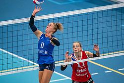 Ana Rekar #11 of Sliedrecht Sport, Roos van Wijnen #11 of VC Sneek in action during the supercup semifinal between VC Sneek and Sliedrecht Sport on October, 03 2020 in Van der Knaaphal, Ede