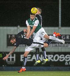 Falkirk's Lee Miller and Hibernian's Darren McGregor. Falkirk 0 v 1 Hibernian, Scottish Championship game played 20/10/2015 at The Falkirk Stadium.