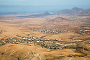 View of land and villages in barren interior of Fuerteventura, Canary Islands, Spain