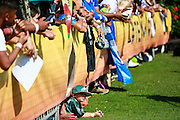 January 29 2016: Young fan tries to find a view of the Pro Bowl practice at Turtle Bay Resort on Oahu, HI. (Photo by Aric Becker/Icon Sportswire)