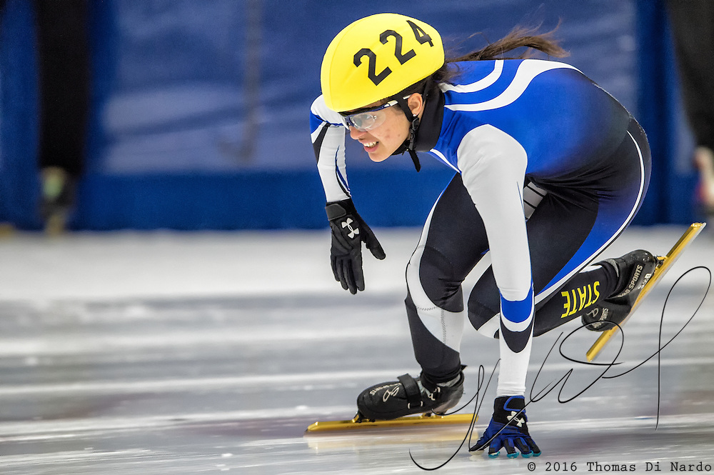 March 18, 2016 - Verona, WI - Leyka Reyes, skater number 224 competes in US Speedskating Short Track Age Group Nationals and AmCup Final held at the Verona Ice Arena.