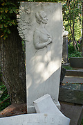 Grieving woman bas relief, at Novodevichy Cemetery, Moscow, Russia