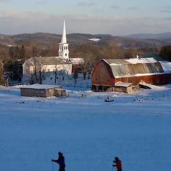 Downtown Peacham, Vermont in winter.