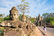 The south gate to Angkor Thom, at Angkor Archaeological Park in Siem Reap, Cambodia.