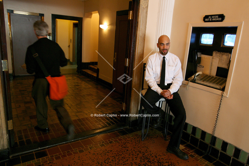 Allan Botello, doorman at 444 Central Park West may be going on strike tonight as the doorman union plans a 12AM deadline for a new contract. April 20, 2006.