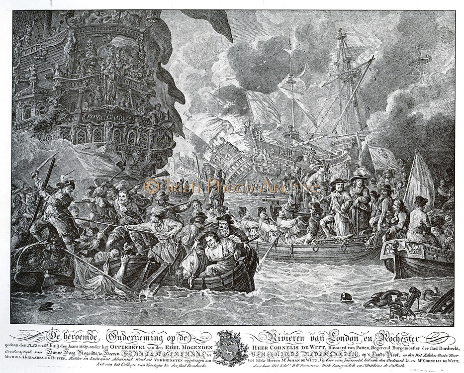 One of the most notorious events in the second English war is certainly De Ruyter's expedition to Chatham.  On board his fleet was also Cornelis de Witt, as agent of the States-General, De Ruyter's fleet sailed to the mouth of the Thames, the Medway to enter the fort and captured Sheerness.  The English had a chain across the river stretched them to the floor to prevent drafts, lay behind some large warships.