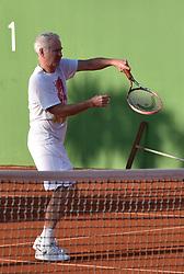 Tennis Legend John McEnroe playing tennis wearing a Keith Richards t-shirt. 29 Sep 2017 Pictured: Tennis Legend Jhon McEnroe playig tennis with Keith Richards t shirt. Photo credit: MEGA TheMegaAgency.com +1 888 505 6342