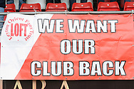Leyton Orient protest banner. EFL Skybet Football League two match, Leyton Orient v Doncaster Rovers at the Matchroom Stadium, Brisbane Road in Leyton, London on Saturday 18th March 2017.<br /> pic by Steffan Bowen, Andrew Orchard sports photography.