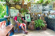 Anakala Pilipo Solatorio in the hale, Halawa Valley Falls Cultural Hike, Molokai, Hawaii, USA