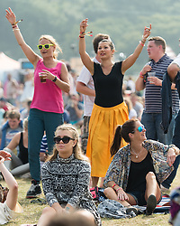 © Licensed to London News Pictures. 07/09/2014. Isle of Wight, UK. Festival goers  at Bestival 2014 dance and listen to live music on  Day 4 Sunday the final day of the festival. This weekend's headliners include Chic featuring Nile Rodgers, Foals and Outcast.   Bestival is a four-day music festival held at the Robin Hill country park on the Isle of Wight, England. It has been held annually in late summer since 2004.    Photo credit : Richard Isaac/LNP