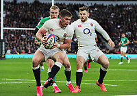 Football - 2020 Guinness Six Nations Championship - England vs. Ireland<br /> <br /> Owen Farrell and Elliot Daly of England, at Twickenham.<br /> <br /> COLORSPORT/ANDREW COWIE
