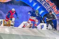 04-02-2012 SKATING: RED BULL CRASHED ICE WORLD CHAMPIONSHIP: VALKENBURG<br /> (L-R) Kilian Braun SUI, Kim Muller SUI, Kyle Croxall CAN (winner of the tournament) during the Quarter final<br /> ©2012-FotoHoogendoorn.nl / Peter Schalk