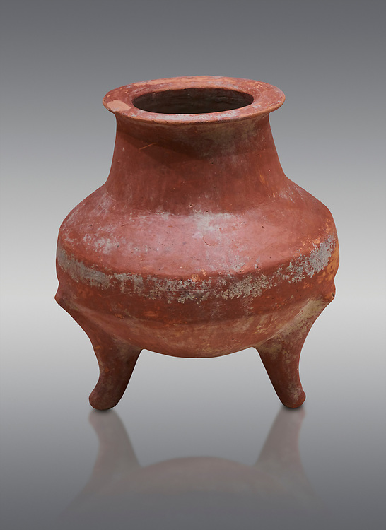Hittite terra cotta pot on trident legs. Hittite Old Period, 1650 - 1450 BC.  Hattusa Boğazkale. Çorum Archaeological Museum, Corum, Turkey .<br />  <br /> If you prefer to buy from our ALAMY STOCK LIBRARY page at https://www.alamy.com/portfolio/paul-williams-funkystock/hittite-art-antiquities.html  - Type Hattusa into the LOWER SEARCH WITHIN GALLERY box. Refine search by adding background colour, place,etc<br /> <br /> Visit our HITTITE PHOTO COLLECTIONS for more photos to download or buy as wall art prints https://funkystock.photoshelter.com/gallery-collection/The-Hittites-Art-Artefacts-Antiquities-Historic-Sites-Pictures-Images-of/C0000NUBSMhSc3Oo