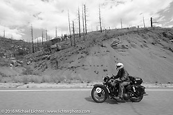 Richard Duda riding his 1924 Henderson Deluxe through areas of the devastating 2002 Hayman Fire west of Colorado Springs during Stage 9 (249 miles) of the Motorcycle Cannonball Cross-Country Endurance Run, which on this day ran from Burlington to Golden, CO., USA. Sunday, September 14, 2014.  Photography ©2014 Michael Lichter.