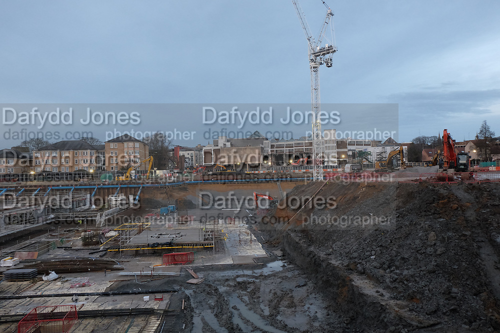 Construction work around the Westgate, Oxford. 23 January 2016