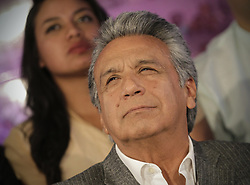 April 4, 2017 - Quito, Ecuador - Ecuadorian ruling party candidate LENIN MORENO reacts after learning he won Sunday's presidential election runoff, according to the country's National Electoral Council. (Credit Image: © Santiago Armas/Xinhua via ZUMA Wire)