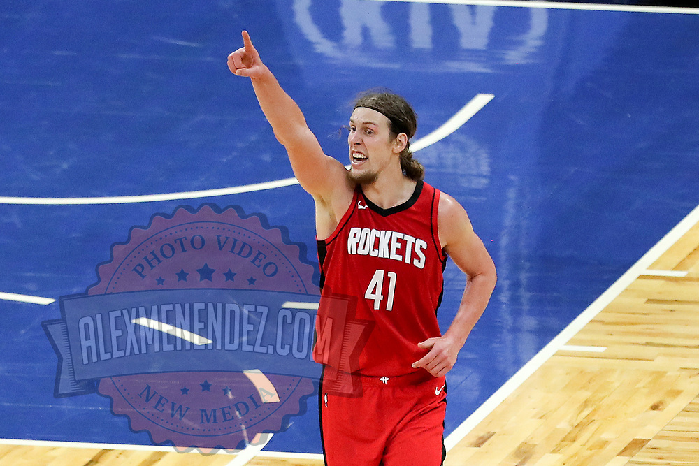 ORLANDO, FL - APRIL 18: Kelly Olynyk #41 of the Houston Rockets demands a ref challenge against the Orlando Magic at Amway Center on April 18, 2021 in Orlando, Florida. NOTE TO USER: User expressly acknowledges and agrees that, by downloading and or using this photograph, User is consenting to the terms and conditions of the Getty Images License Agreement. (Photo by Alex Menendez/Getty Images)*** Local Caption *** Kelly Olynyk