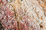 See colorful geologic rock patterns exposed by the Pacific Ocean at Harris Beach State Park, on US Highway 101, north of Brookings, Curry County, Oregon, USA.
