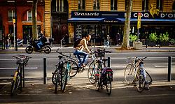 A cyclist in the Boulevard de Strasbourg, Toulouse, France<br /> <br /> (c) Andrew Wilson | Edinburgh Elite media