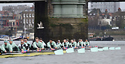 Putney. London,  Great Britain.<br /> Cambridge, Blondie head the CUBC Blue Boat, as both crews approach, Hammersmith Bridge.<br /> 2016 Tideway Week, Putney. Putney Embankment, Championship Course. River Thames.<br /> <br /> Saturday  26/03/2016 <br /> <br /> [Mandatory Credit; Peter SPURRIER/Intersport-images]