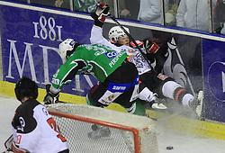 Frank Banham and Damjan Dervaric at 39th Round of EBEL League ice hockey match between HDD Tilia Olimpija and Acroni Jesenice, on December 30, 2008, in Arena Tivoli, Ljubljana, Slovenia. Tilia Olimpija won 4:3.(Photo by Vid Ponikvar / SportIda).